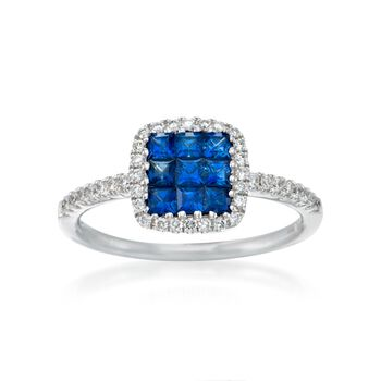 Gregg Ruth .53 ct. t.w. Sapphire and .23 ct. t.w. Diamond Ring in 18kt White Gold