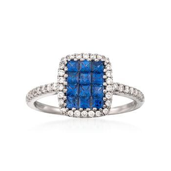 Gregg Ruth .73 ct. t.w. Sapphire and .26 ct. t.w. Diamond Ring in 18kt White Gold