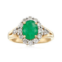 1.70 Carat Emerald and .75 ct. t.w. Diamond Ring in 14kt Yellow Gold. Size 9