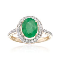 1.80 Carat Zambian Emerald and .25 ct. t.w. Diamond Halo Ring in 14kt Yellow..