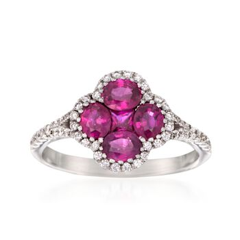 Gregg Ruth 1.34 ct. t.w. Ruby and .29 ct. t.w. Diamond Clover Ring in 18kt White Gold