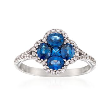 Gregg Ruth 1.34 ct. t.w. Sapphire and .30 ct. t.w. Diamond Clover Ring in 18kt White Gold