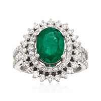 2.20 Carat Emerald and 1.34 ct. t.w. Diamond Ring in 18kt White Gold. Size 7