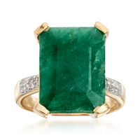 7.25 Carat Emerald and .14 ct. t.w. White Topaz Ring in 14kt Gold Over Sterl..