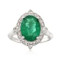 2.80 Carat Emerald and .62 ct. t.w. Diamond Ring in 18kt White Gold. Size 6