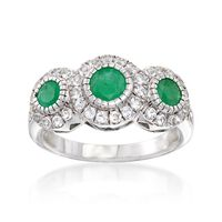 .90 ct. t.w. Emerald and .50 ct. t.w. White Topaz Ring in Sterling Silver. S..