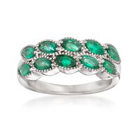 1.10 ct. t.w. Marquise Emerald Ring in 14kt White Gold. Size 7