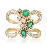 1.15 ct. t.w. Diamond and .40 ct. t.w. Emerald Open Space Ring in 14kt Yello..