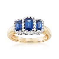 1.60 ct. t.w. Sapphire and .34 ct. t.w. Diamond Three-Stone Ring in 14kt Two..