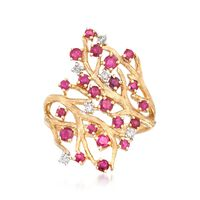1.00 ct. t.w. Ruby and .11 ct. t.w. Diamond Branch Ring in 14kt Yellow Gold...