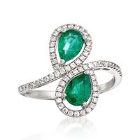 1.00 ct. t.w. Emerald and .50 ct. t.w. White Zircon Bypass Ring in Sterling ..