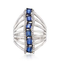 1.60 ct. t.w. Sapphire and .25 ct. t.w. Diamond Vertical Statement Ring in 1..
