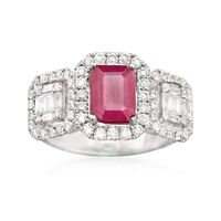 1.30 Carat Ruby and .90 ct. t.w. Diamond Ring in 18kt White Gold. Size 9