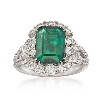 3.43 Carat Emerald and 1.46 ct. t.w. Diamond Ring in 18kt White Gold