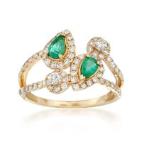 .70 ct. t.w. Diamond and .40 ct. t.w. Emerald Bypass Ring in 14kt Yellow Gol..