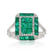 Gregg Ruth 1.80 Carat Total Weight Emerald and .34 Carat Total Weight Diamond Rectangle Ring in 18-Karat White Gold. Size 6.5