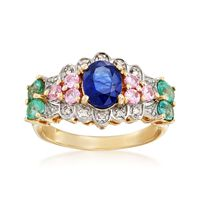 Sapphire and 1.10 ct. t.w. Multi-Stone Ring With Diamond Accents in 14kt Yel..