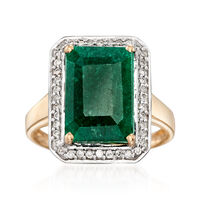 5.50 Carat Emerald and .20 ct. t.w. Diamond Ring in 14kt Yellow Gold. Size 5