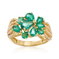 1.80 ct. t.w. Emerald and .32 ct. t.w. Diamond Cluster Ring in 18kt Yellow G..