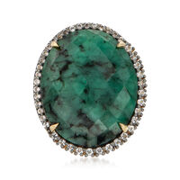 15.00 Carat Opaque Emerald and .50 ct. t.w. White Topaz Ring in 18kt Gold Ov..