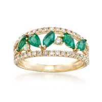 .80 ct. t.w. Emerald and .58 ct. t.w. Diamond Ring in 14kt Yellow Gold. Size 6