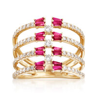 1.10 ct. t.w. Ruby and .69 ct. t.w. Diamond Multi-Row Open-Space Ring in 14k..
