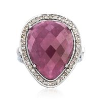 13.00 Carat Pink Sapphire and .37 ct. t.w. Champagne Diamond Ring in Sterlin..