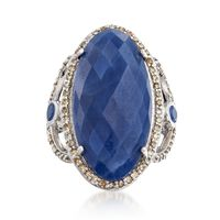 16.10 ct. t.w. Sapphire and .70 ct. t.w. Champagne Diamond Ring in Sterling ..