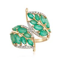 2.70 ct. t.w. Emerald and .16 ct. t.w. Diamond Leaf Bypass Ring in 14kt Yell..