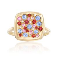 .78 ct. t.w. Pave Multicolored Sapphire Ring With Diamond Accents in 18kt Yellow Gold. Size 7