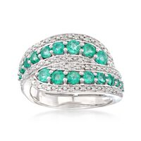 .90 ct. t.w. Emerald and .18 ct. t.w. Diamond Twist Ring in Sterling Silver...