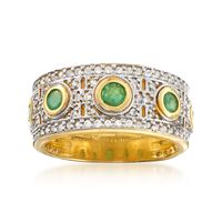 .90 ct. t.w. White Zircon and .70 ct. t.w. Emerald Ring in Two-Tone Sterling..