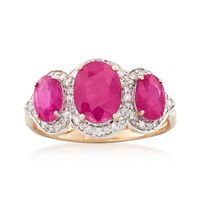 2.48 ct. t.w. Triple-Ruby and .28 ct. t.w. Diamond Ring in 14kt Yellow Gold...