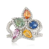 2.70 ct. t.w. Multicolored Sapphire and .98 ct. t.w. Diamond Ring in 18kt White Gold. Size 9