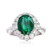 3.50 Carat Emerald and 1.20 ct. t.w. Diamond Ring in 14kt White Gold. Size 6.5