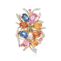 5.20 ct. t.w. Multicolored Sapphire and .26 ct. t.w. Diamond Ring in 14kt Ye..