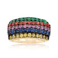 1.60 ct. t.w. Multicolored Sapphire and .30 ct. t.w. Emerald Multi-Row Ring ..