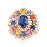 3.70 ct. t.w. Multicolored Sapphire and .70 ct. t.w. Diamond Ring in 14kt Ye..