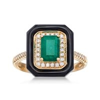 1.00 Carat Emerald and Black Onyx Ring With .20 ct. t.w. Diamonds in 18kt Ye..
