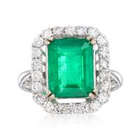 3.60 Carat Emerald and .87 ct. t.w. Diamond Ring in 18kt White Gold. Size 7
