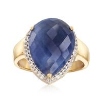 8.50 Carat Sapphire and .10 ct. t.w. White Topaz Ring in 18kt Yellow Gold Ov..