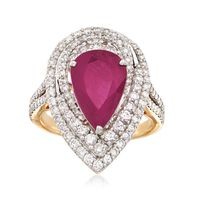 3.75 Carat Ruby and 1.35 ct. t.w. Diamond Ring in 18kt Yellow Gold. Size 5