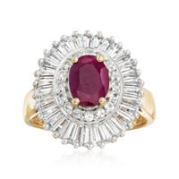 1.50 Carat Ruby and 2.00 ct. t.w. White Topaz Ring in 18kt Gold Over Sterling. Size 7