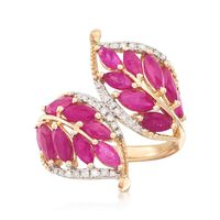 3.20 ct. t.w. Ruby and .17 ct. t.w. Diamond Leaf Bypass Ring in 14kt Yellow ..