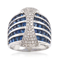 4.20 ct. t.w. Sapphire and .63 ct. t.w. Diamond Multi-Row Ring in 18kt White Gold. Size 9