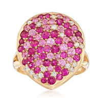 10.00 ct. t.w. Tonal Pink Sapphire and .21 ct. t.w. Diamond Ring in 18kt Yel..