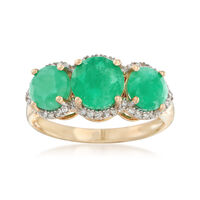 2.70 ct. t.w. Emerald and .11 ct. t.w. Diamond Three-Stone Ring in 14kt Yell..