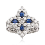 "Roberto Coin ""Princess Flower"" 1.23 ct. t.w. Diamond and .40 ct. t.w. Sapphire Flower Ring in 18kt White Gold. Size 6.5"