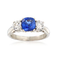 1.50 Carat Sapphire and .85 ct. t.w. Diamond Ring in Platinum. Size 6