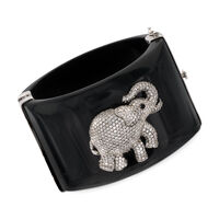 Black Acrylic Bangle Bracelet With 6.30 ct. t.w. CZ Elephant and Smoky Quart..